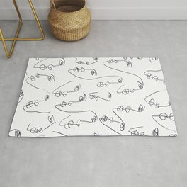 Twin Flames Black and White Rug