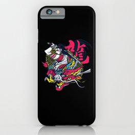 Female Samurai dragon cartoon art japanese letters iPhone Case