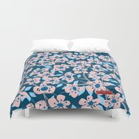 cherry blossom Duvet Covers featuring Cherry Blossom by Alannah Brid