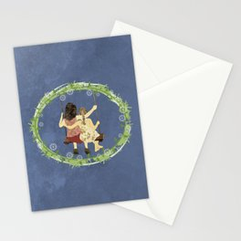 Sisters on swing Stationery Cards