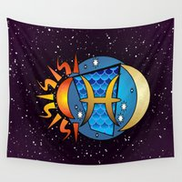 astrology Wall Tapestries featuring Astrology, fish by Karl-Heinz Lüpke