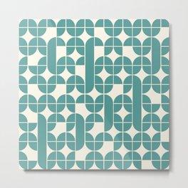 Mid Century Modern Geometric Pattern Cyan Metal Print