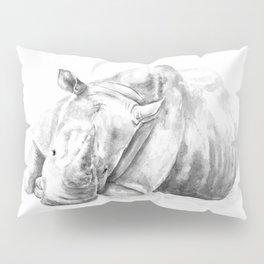Black and white Rhino Pillow Sham