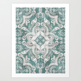 Teal and grey dirty denim textured boho pattern Art Print