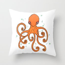 Octopus and Bubbles Throw Pillow