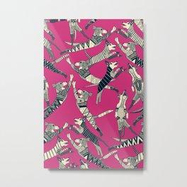 dog party indigo pink Metal Print