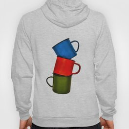 Vintage green, blue, red enamel mugs in modern look Hoody