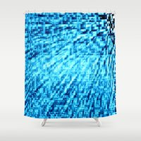 turquoise Shower Curtains featuring TURquoise Pixel Wind by 2sweet4words Designs