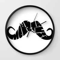 moustache Wall Clocks featuring Moustache by creativecam