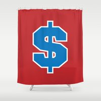 sports Shower Curtains featuring Sports $ (red) by Cary Harding