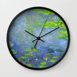 Water Lillies - Claude Monet (ufo green) Wall Clock