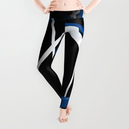 Seamless Blue and White Stripes on A Black Background Leggings