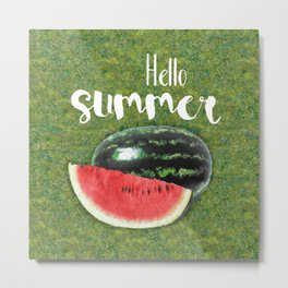Hello Summer // Green + Red Watermelon Metal Print