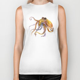 Octopus, orange red gold underwater scene octopus lover design, beach Biker Tank
