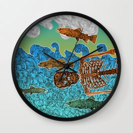 Vacations of a Skeleton whit his friends...the fish Wall Clock