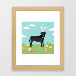 Black Lab labrador retriever dog breed pet art easter portrait costume spring Framed Art Print