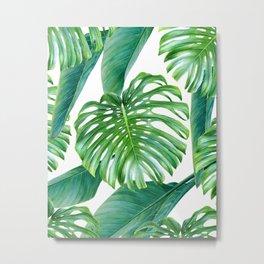 Green tropical leaves V Metal Print