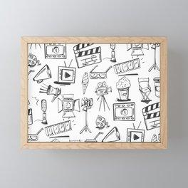 FILMMAKING ELEMENTS PATTERN Framed Mini Art Print