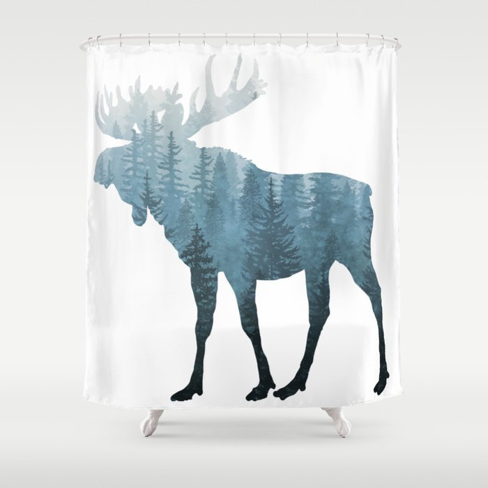 Misty Forest Moose Shower Curtain