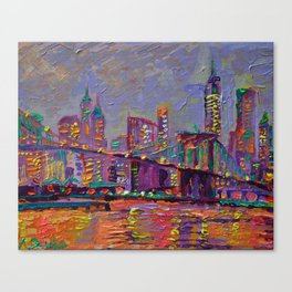 New York City Lights - palette knife painting abstract manhattan skyline Brooklyn bridge Canvas Print