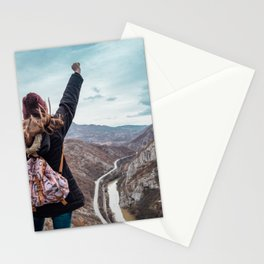 Tourist on the peak of high rocks. Big canyon on Balkan peninsula Stationery Cards