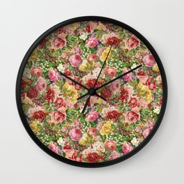 Vintage Retro flower pattern old fashioned Wall Clock