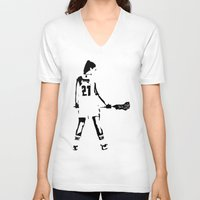 lacrosse V-neck T-shirts featuring Lacrosse girl by laxwear