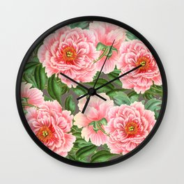 Pink Peonies Pattern On Grey Wall Clock
