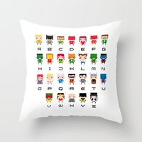 nightcrawler Throw Pillows featuring Superhero Alphabet by PixelPower