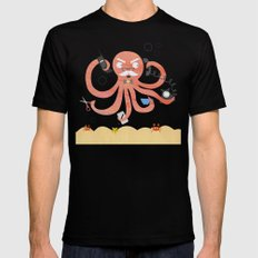 A busy Octopus works in an office Black MEDIUM Mens Fitted Tee