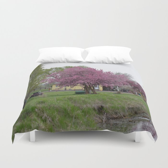 Placidity Along Highway 97 Duvet Cover