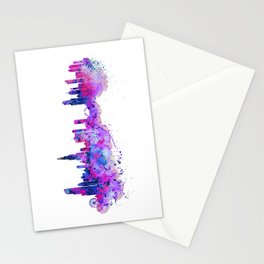 Chicago Watercolor Skyline 2 Stationery Cards