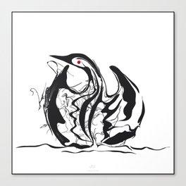 Swan-1. Black on white background-(Red eyes series) Canvas Print