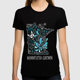 Minnesota Home Grown State Art Blue Style  T-shirt