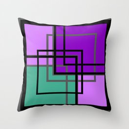 Geometric patchwork, green, turquoise Throw Pillow