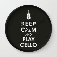 Keep Calm and Play Cello Wall Clock