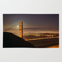 GOLDEN GATE BRIDGE & MOON PHOTO - SAN FRANCISCO NIGHT IMAGE - CALIFORNIA PICTURE - CITY PHOTOGRAPHY Rug
