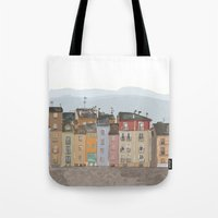 cityscape Tote Bags featuring Cityscape by Paint Your Idea