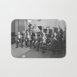 Vintage black and white photo of orchestra Bath Mat