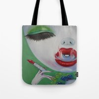 lipstick Tote Bags featuring Lipstick by Sahara Novotny