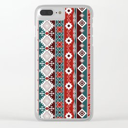 Colorful Aztec pattern with red. Clear iPhone Case
