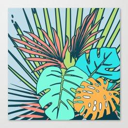 Tropical leaves blue Canvas Print