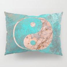 Yin Yang - Rose Turquoise Marble Pillow Sham