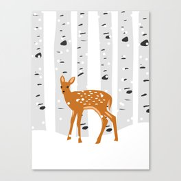 Baby Deer in the snow Canvas Print