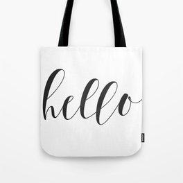 Hello (Black) Tote Bag