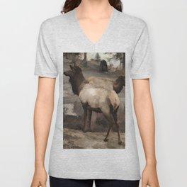 Young Elk Bucks   -  Banff Alberta Unisex V-Neck