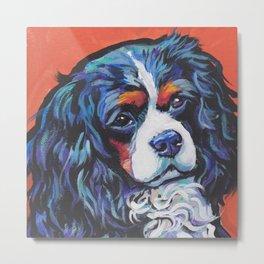 Fun Cavalier King Charles Spaniel Dog bright colorful Pop Art by LEA Metal Print