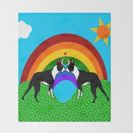Boston Terrier Unicorn Love Throw Blanket
