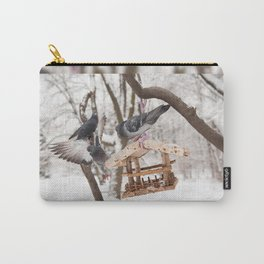 pigeons sitting on bird feeder Carry-All Pouch