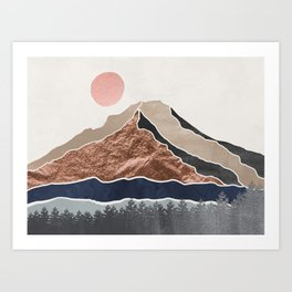Mount Hood // Daylight Art Print Oregon Stratovolcano Rose Gold Silver Blue Cream Black Mountain Art Print